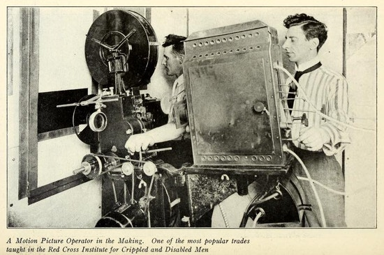 Two men using movie projection equipment.