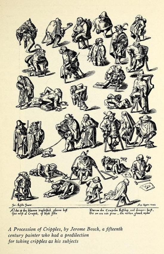 Drawings of about 25 physically disabled people, many with primitive crutches.