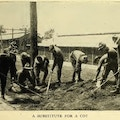 Men working with rakes.