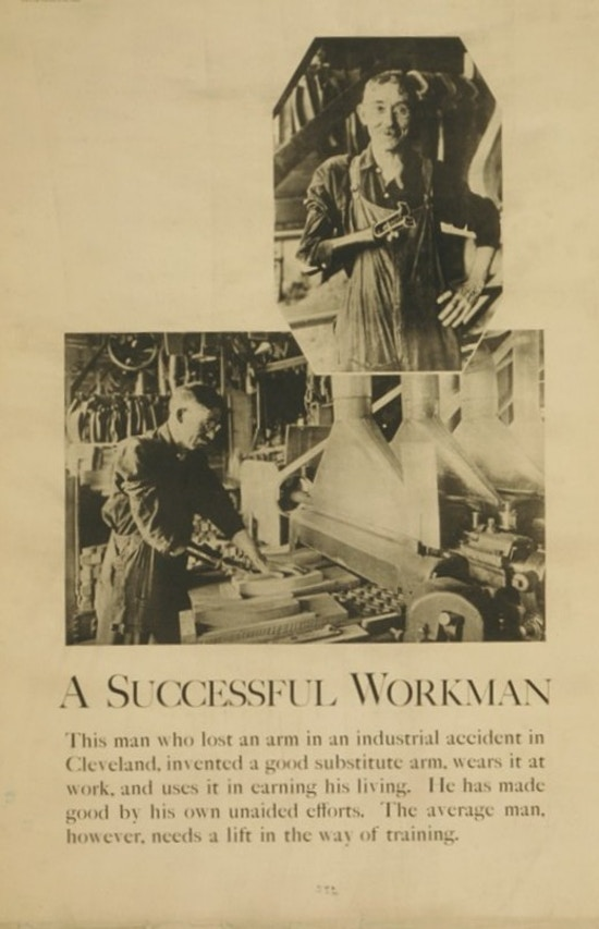 Exhibit poster showing a portrait photograph of a man who lost his arm in an industrial accident, also shows a view of him at a machine in a woodworking shop.