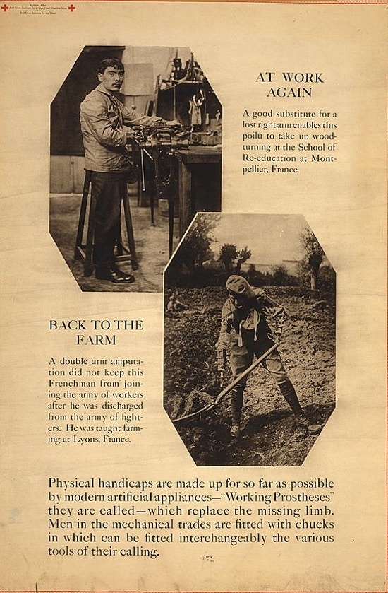 "Exhibit poster showing two scenes ""At work again"" and ""Back to the farm"" in which men using ""working protheses"" perform manual labor in a woodworking shop and on a farm."