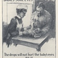 Poster with a drawing of a doctor applying eye drops into a baby's eyes, a nurse assisting.