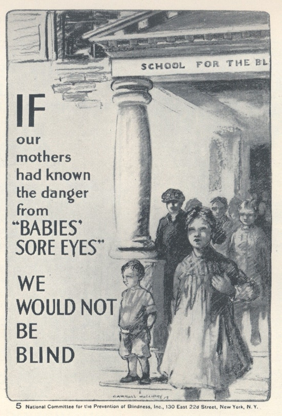Poster with drawing of several children leaving a school for the blind.
