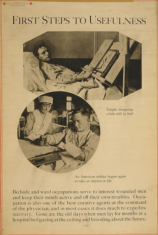 "Exhibit poster showing two scenes of men in hospitals recovering from war wounds - ""simple designing while still in bed"" ; ""an American soldier begins again to take an interest in life."""