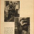 Exhibit poster showing two scenes in which men with partial leg amputations are being taught to work in a printshop.