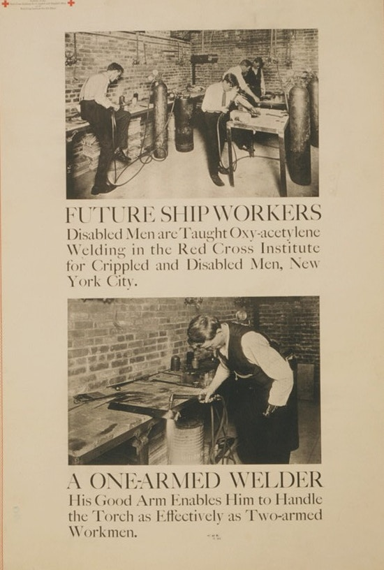 Exhibit poster showing two scenes in which men with partial arm amputations are taught welding.