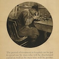 Exhibit poster showing a man recovering from war wounds at Walter Reed Hospital learning the craft of engraving.