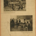 Exhibit poster showing two scenes in which disabled soldiers are being taught useful skills to enable them to find employment upon discharge from military service - Disabled Serbians working in the carpentry shop at Lyons, France ; A tailoring class in Paris taught by a one-legged instructor.