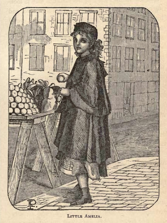 Girl sells fruit on a city street.