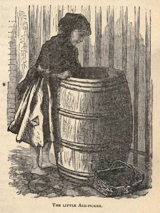 Barefoot girl in ragged clothes looks into barrel.