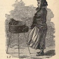 Girl in shawl stands before roasting chestnuts, snow blowing by.