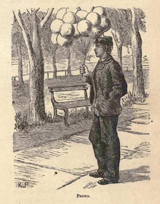 Boy sells balloons in a city park.