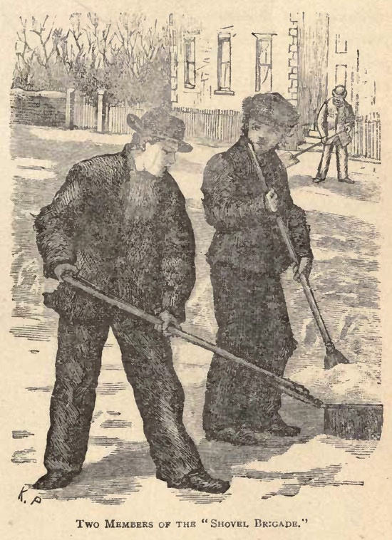 Two boys shovel snow on a street.