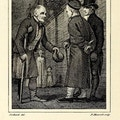 Man with crutch and peg-leg holds hat in front of two gentlemen.