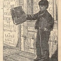 Boy sells newspapers on street, posters in background announcing news events.