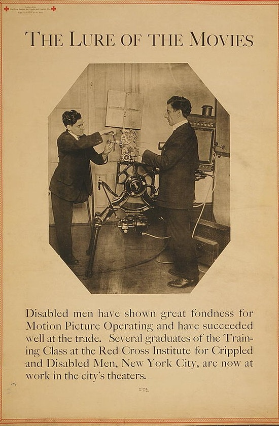 Exhibit poster showing a disabled man with one leg working with film projection equipment.