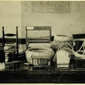 Table with several baskets and wordworking products.