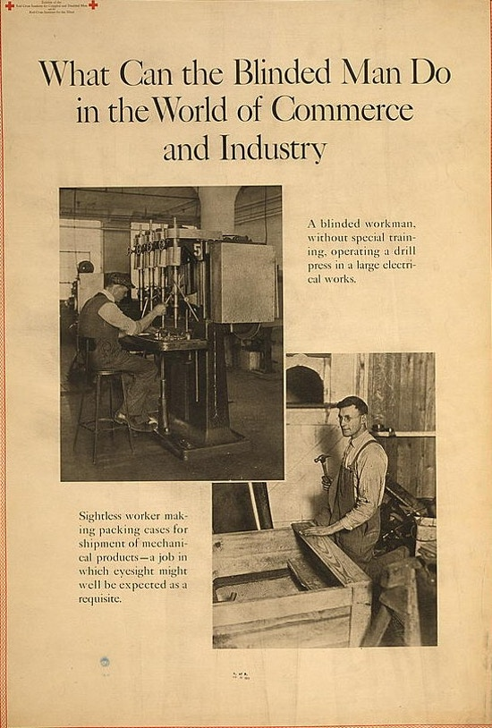 Exhibit poster showing two scenes in which blind men perform mechanical tasks in workshops.