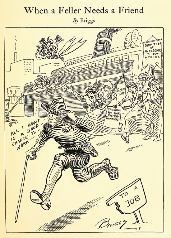 Cartoon of a soldier with a cane running from women welcoming his home.  He runs toward a job.