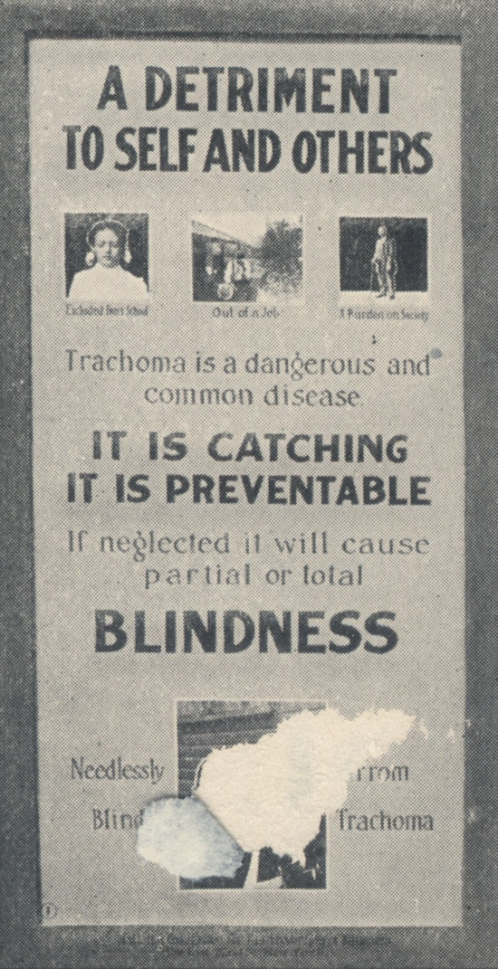 Poster showing individuals made blind from trachoma.