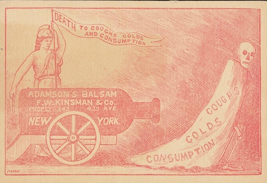 "Trade card showing bottle of Adamson's Balsam positioned as cannon aimed at skeleton wearing cloak marked ""Coughs Colds Consumption."""