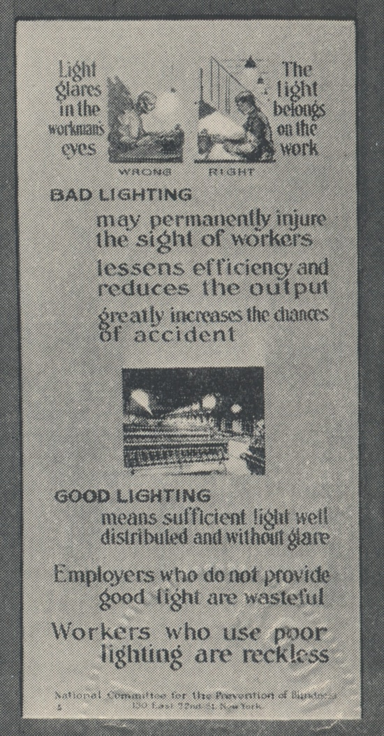 Poster showing good and bad lighting in the workplace.