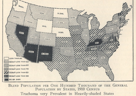 Map showing prevalence of blindness by state.
