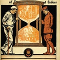 Cover of Carry On.  Sailor with cane and soldier hold large hour glass with factory and home inside.