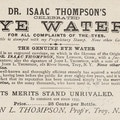 Trade card describing the merits of Dr. Isaas Thompson's Celebrated Eye Water.
