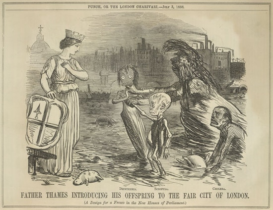 "A woman with crown and shield watches as ""Diphtheria,"" ""Scrofula,"" ""Cholera,"" and a large male creature emerge from dirty water."