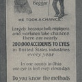 Poster showing sighted worker and blind man.