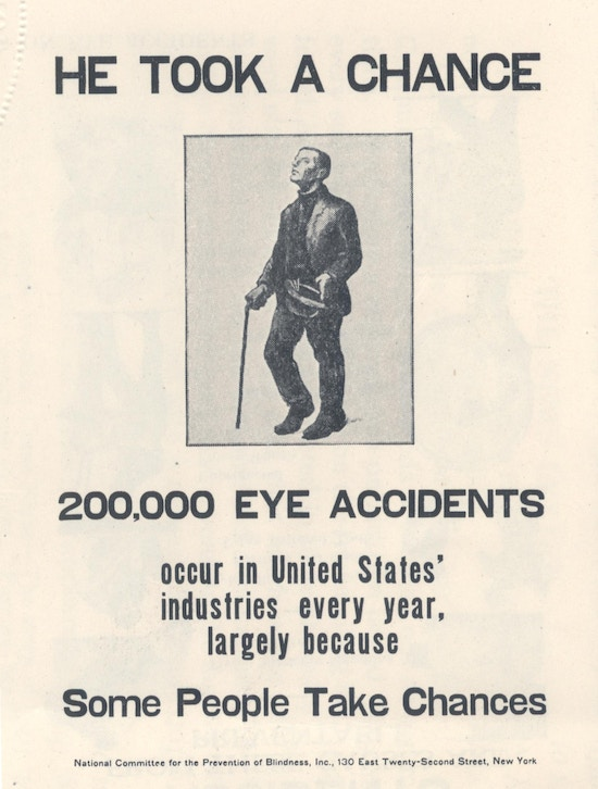 Poster showing blind man with cane, hat in hand.