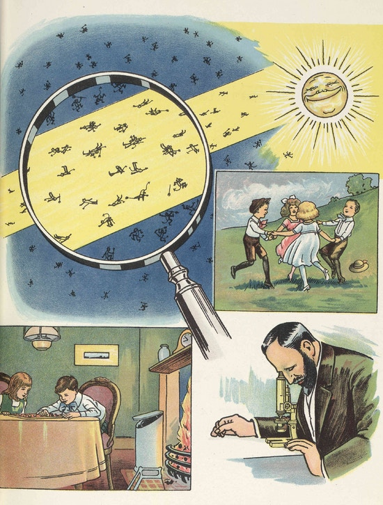 Images of the sun, children indoors and outdoors, microbes through a magnifying glass, and a man working at a microscope.