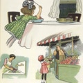 Images of a girl swatting flies around food at a table, a woman washing food at a sink, and flies around food sold by a street vendor.