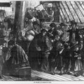 Image of a crowd of immigrants on a sailing ship.