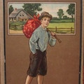 Barefoot boy carrying sack on a stick, farm house in the background.