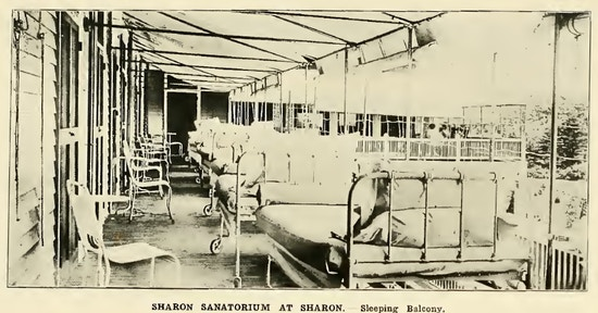 Row of beds on a balconey.