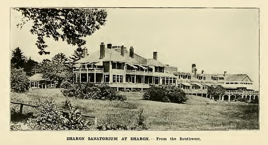 Photograph of large sprawling building with many windows, porches, and decks.
