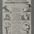 Poster showing a variety of dangers to eyesight in industrial work.