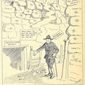 Cartoon of soldier with cane in military fortification made of sandbags marked charity.  Poison gas, marked worn-out notion of the cripple, lies in the direction of a job.