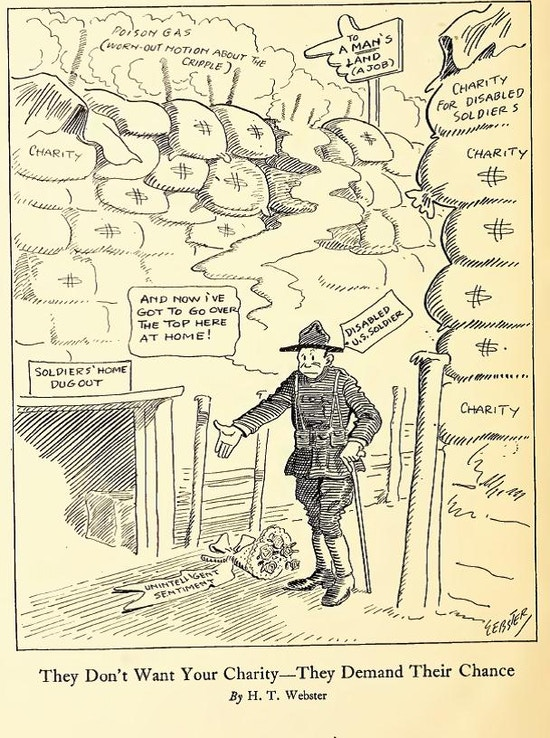 "Cartoon of soldier with cane in military fortification made of sandbags marked charity.  Poison gas, marked ""worn-out notion of the cripple,"" lies in the direction of a job."