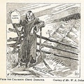 Cartoon of skeleton holding jug of wood alcohol next to fresh graves.