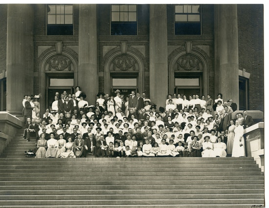 Group photograph of the American Association to Promote Teaching Speech to the Deaf Chicago School taken outdoors on the steps.