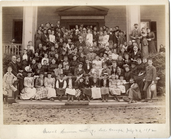 The second summer meeting for the American Association to Promote Teaching Speech to the Deaf photographed at Grosbyside Hotel Lake George.  Group of about 100 men and awomen.