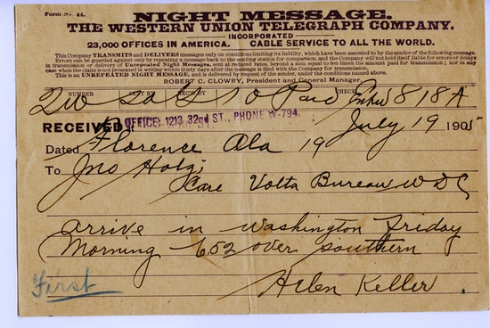 "Telegram from Helen Keller to John Hitz reading, in part: ""arrive in Washington Friday morning..."" and was sent via Western Union."