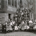 Large group portrait of students on the Horace Mann School steps.