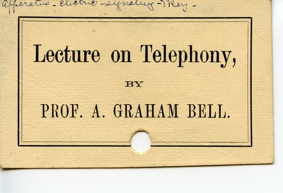 "Card announcing ""Lecture on Telephony""."