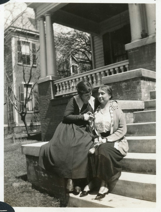 Helen Keller and Rebecca Mack at Helen's sister's home at Montgomery, Alabama, in the winter.
