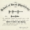Diploma for Scool of Vocal Physiology.