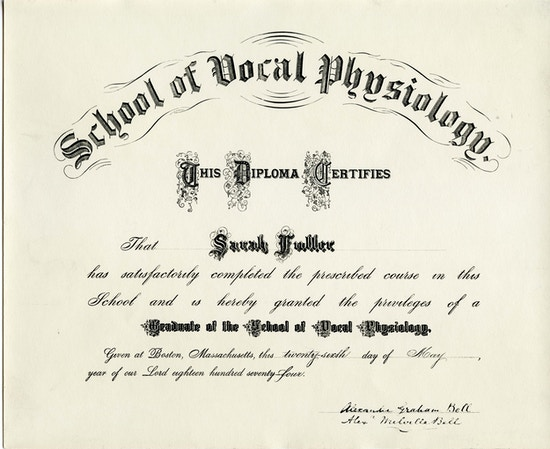 "Diploma for ""Scool of Vocal Physiology""."